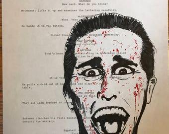 American Psycho Patrick Bateman original drawing on script page
