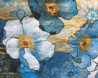 Decoupage Napkins x4, Paper Napkins for Decoupage Craft Collage Blue Flowers 776