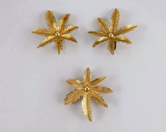 Vintage Sarah Coventry Brooch & Earrings - Gold Tone Leaf Brooch And Earrings, Sarah Coventry Earrings, Costume Jewellery