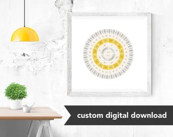 Custom Genealogy Family Tree Chart - Goldenrod Circle (Sophisticated yet Modern with Gold, either Circle Genealogy Chart or Fan Chart)
