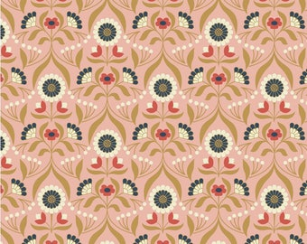 Lewis and Irene Gold, Metallic, Floral, Pink and Terracotta Fabric from the Chieveley Collection