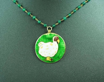 "Vintage Enamel & Glass Bead Pendant ""Dodo"" Bird"