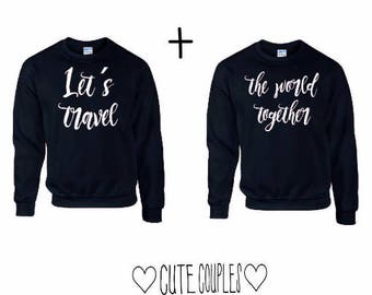 Travel the world  Couple Sweater Navy Blau - Couple Sweatshirt, Couple Hoodie, Travel sweatshirt, travel tshirt, travel couple, world travel