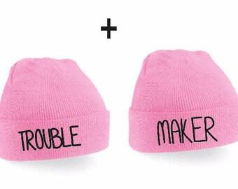 Troublemaker Couple Beanies - Couple beanie, Beanie Set, Beanies, Beanie, Blondie Brownie, Couple Gift, Couple Hats,
