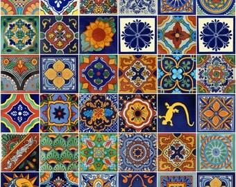 100 Pieces Mexican Talavera Tiles Handmade Mixed Designs Mexican Ceramic 4x4 inch