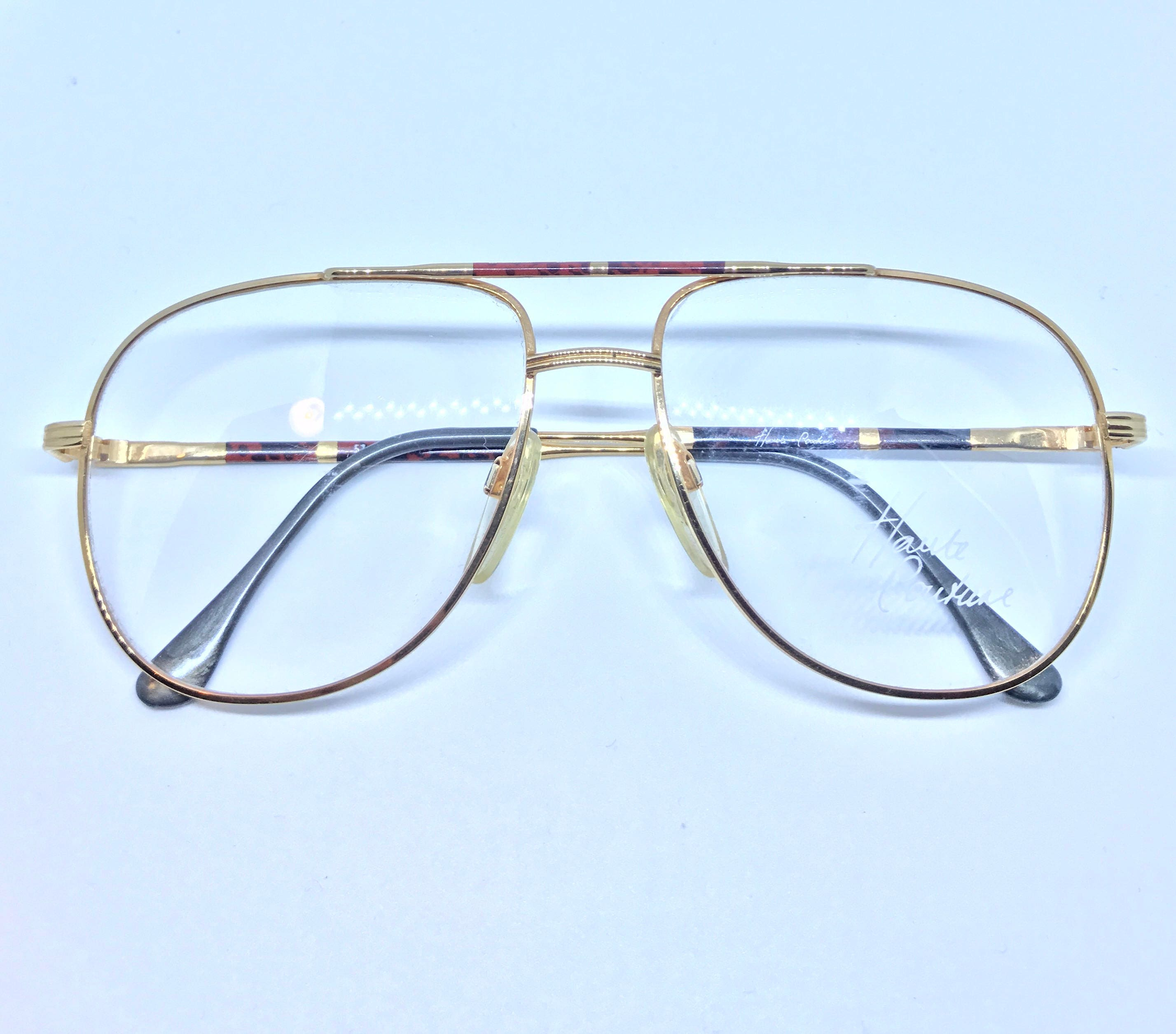 a872a634e8c Vintage Gold Aviator Glasses Frame - Haute Couture - 80 s Double Bar Aviator  - Never Worn