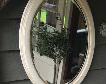 NOW SOLD ** Vintage Antique Oval Bevelled Mirror
