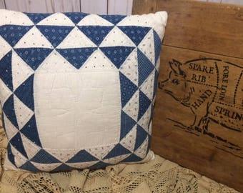 Vintage Quilt Pillow, Farmhouse Pillow