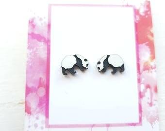 Panda earrings panda bear earrings panda stud earrings panda  jewellery panda bear jewelry panda bear studs animal earrings panda bear gift