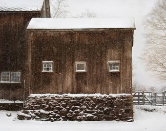 Barn in Snow Fine Art Photography Wall Print for Home or Office Decor.  Rustic Farmhouse Decor. Brown and White Tones.