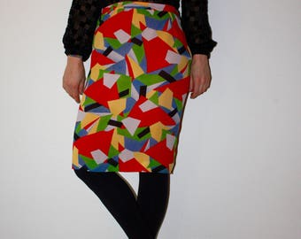 High waist Vintage skirt with abstract print