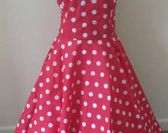 50s style polkadot full circle dress