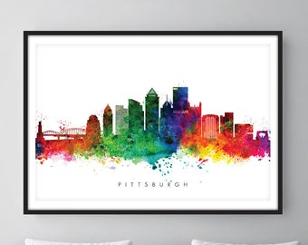 Pittsburgh Skyline, Pittsburgh Pennsylvania Cityscape Art Print, Wall Art, Watercolor, Watercolour Art Decor