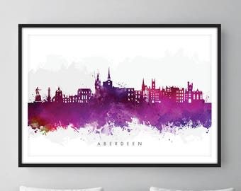 Aberdeen Skyline, Aberdeen Scotland Cityscape Art Print, Wall Art, Watercolor, Watercolour Art Decor [SWABZ08]