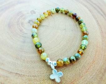Green Garnet Beaded Bracelet with Sterling Silver Cross
