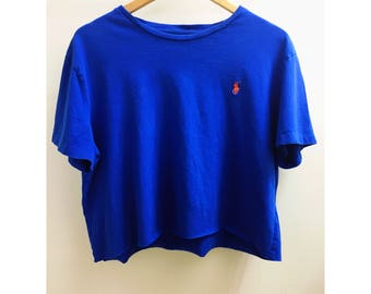 Polo Upcycled Royal Blue Cropped Top Size Large