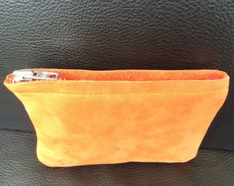 Small leather pouch full flower orange
