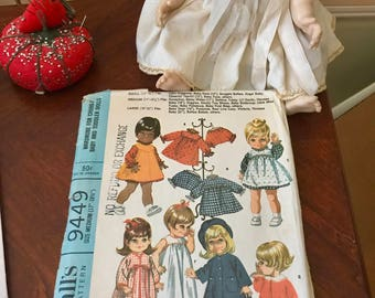 Vintage Doll Clothes Pattern McCalls 9449