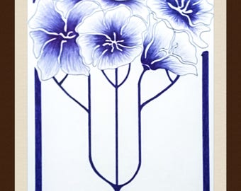 Art drawing original flowers ballpoint blue - arts and crafts - Lechapeaudlagamine - inspiration the 20s