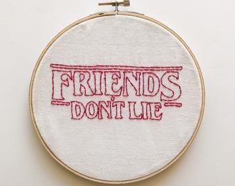 Stranger Things Hoop Art | Friends Don't Lie | Eleven | Hand Made | Netflix | Embroidery Art | Fiber Art | 011