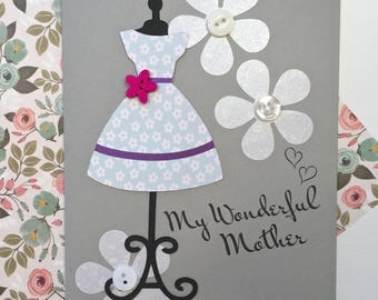 Mothers Day Card - My Wonderful Mother - Handmade Card