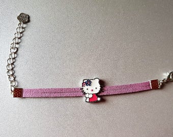 Bracelet child or teenager in suede old pink, Kitty Cat charm