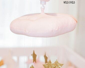 Pink, Cloud and Stars, mobile, wall décor, nursery, kids room, baby crib mobile, newborn gift, baby shower gift, gold stars, crib decoration