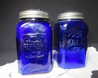 Vintage Cobalt Blue Salt and Pepper Shakers