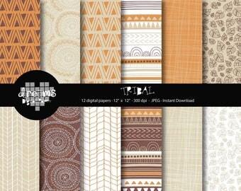 COD042-70% OFF SALE-Tribal digital paper-tribal printablee-rustic digital paper-scrapbook printable-brown digital paper