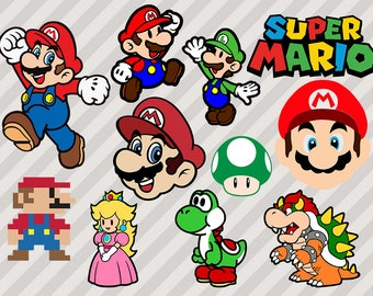 Mario Bros Svg, Super Mario Svg, Mario Clip Art, Gaming Svg, Png, Dxf, Vector files, Mario logo svg, Toad Cutfiles for cricut cuttable mario