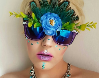 Festival blue lens feather and flower sunglasses