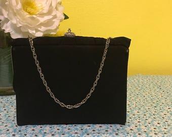 SALE!  Vintage 1950s-1960s Black Evening Bag Clutch