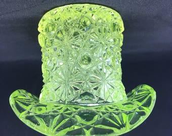 Vintage Fenton Daisy and Button Vaseline Glass Top Hat Toothpick Holder