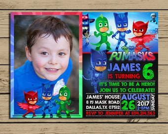 PJ Masks Invitation - pj Masks Birthday Party Invite - pj Masks Chalkboard Invitation With Photo - YOU PRINT