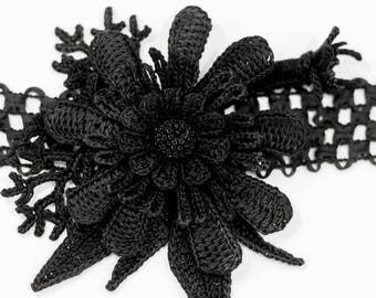 Black CROCHET HEADBAND- Black flower-Nylon Elastic all size Headband-baby-Headband-Girls-Flower hair accessories-Crochet flower-Sale.