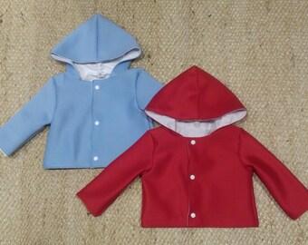 Neoprene jackets with hood, white inner liner, white snap buttons, handmade
