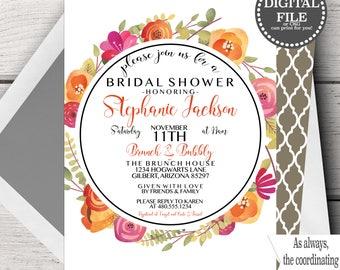 Fall Bridal Shower Invitation, Fall Bridal Shower Invitation Printable, Bridal Shower Invitation Template, Bridal Shower Fall Wedding Shower