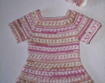 Knitted baby dress FREE matching headband