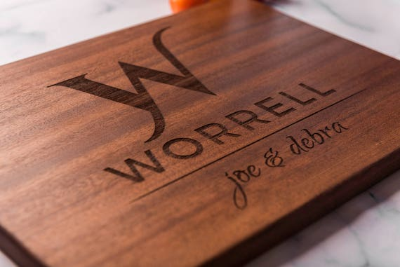 Monogrammed Custom Cutting Board, Personalized Wedding Gift for Couple, Engraved Engagement Gift, Anniversary Gift, Housewarming Gift