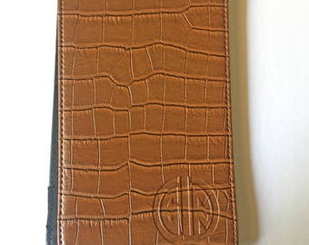 GolfInRed Alligator Leather Scorecard Holder & Yardage Book Cover (brown)