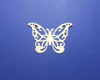 """Intricate Vanilla Cream Butterfly Die Cuts 1 1/2"""" x 1 3/8"""" - 24 pc Cardstock Paper Butterfly Embellishments, Scrapbooking, Card Making"""