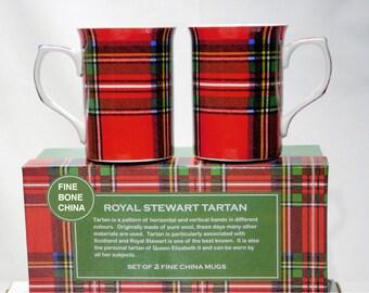 Royal Stewart Plaid, Scottish Tartan MUG set of 2 mugs, boxed Imported from England for tea or coffee, dishwasher & microwave safe