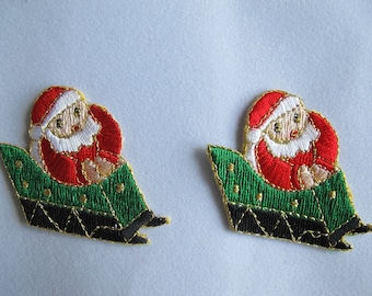 Embroidered Patch 2 pcs Christmas Santa Claus with Sleigh Iron on Sew On Applique