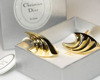 Vintage Christian Dior - clip on earrings from the 80s gold plated earrings - Ohrclips vergoldet ungetragen unbenutzt Originalbox