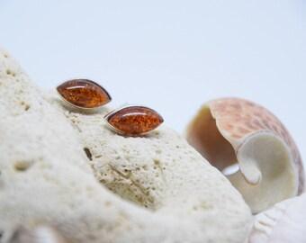 Baltic Amber Cognac Earrings, Natural Amber Earrings, Silver stud Earrings 925, Stud earrings