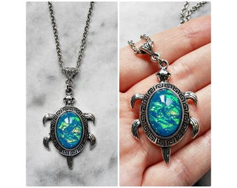 necklace tortoise opal blue aquamarine silver folklore animal wisdom longevity lucky wicca pagan magic fantasy amulet talisman
