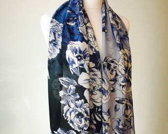 All the blues floral print scarf