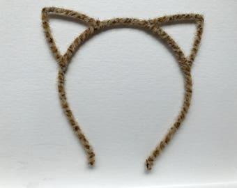 Cat ear headband, leopard print headband, women headband, girl headband