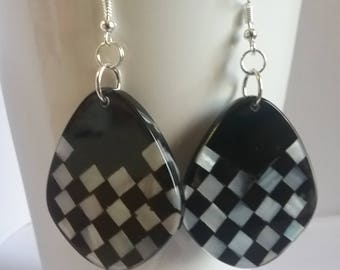 Checkerboard Earrings, Black and White, Race track, checkers