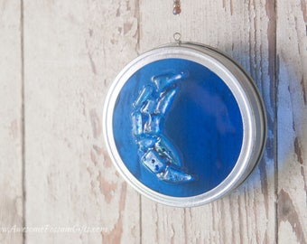 Cobalt Blue Fused Glass Crescent Moon Dichroic Glass Suncatcher Mounted in a Large Canning Jar Lid, Perfect for windows, gardens or patios